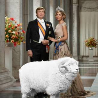 Photomontage for DutchNews podcast April 19 2019 featuring King Willem-Alexander and Queen Maxima with a bunch of flowers and a very large sheep.
